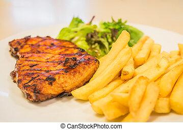 carne di maiale, fritture bistecca, francese, insalata