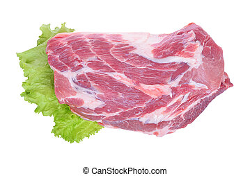 carne di maiale, insalata carne, isolato, crudo, fondo,...