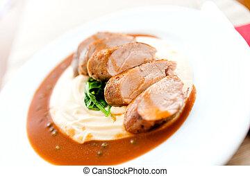 carne di maiale, patate, schiacciare, corso, cotto ferri, principale