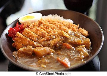 carne di maiale, riso, curry, fritto