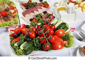 carne, e, fish, specialità, e, anche, verdura, tabella posta