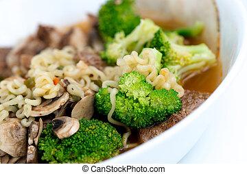 carne, e, vegetal, caseiro, japoneses, ramen