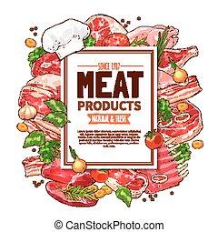 carne fresca, produto, esboço, cartaz, para, alimento, desenho