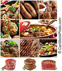carne, imagens, colagem