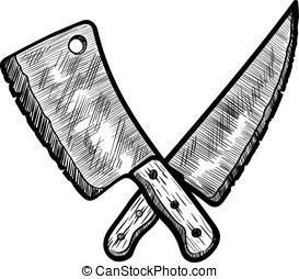 carne, inteligente, e, faca açougueiro
