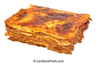 carne, lasanha, porção