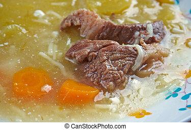 carne, manzo, estafar, zuppa, di