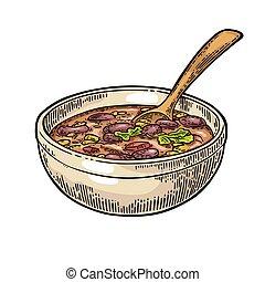 carne, mexicain, bol, -, nourriture., traditionnel, cuillère, piment, duper