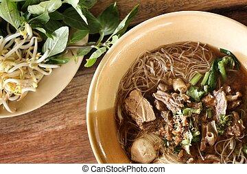 carne, noodles, em, sopa