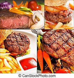 carne, pratos, colagem