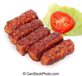 carne, rumano, -, mici, mititei, asado parrilla, rollos