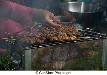 carne, stringed, cozinhar, -, islamic, alimento, assado, cabra