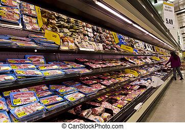 carne, supermercado, estantes