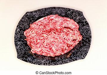 carne, tigela, isolado, cru, branca, chão
