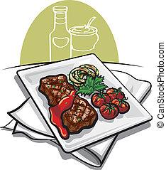 carne, tomate, sauc, grelhados, bife