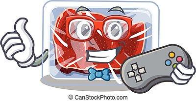 carne, usando, controlador, desenho, mascote, conceito, gamer, congelado