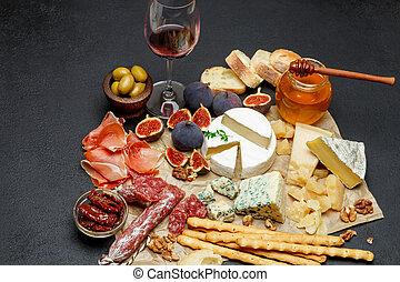 carne, vário, tipos, frutas, queijo, vinho