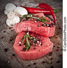 carne vaca cruda, filetes, preparado, para, parrilla