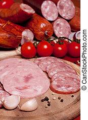 carne, varietà, legno, prodotti, taglio, trattato, board., freddo