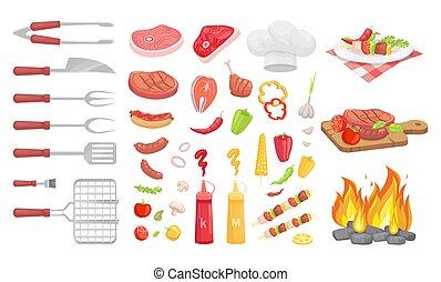carne, vegetales, ilustración, vector, barbacoa, barbacoa