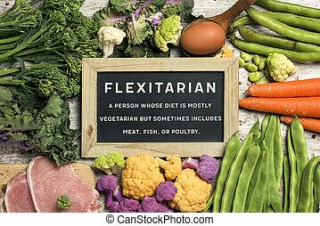 carne, vegetales, texto, huevos, flexitarian, crudo