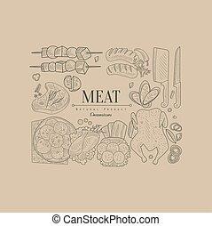 carne, vettore, bandiera, illustrazione