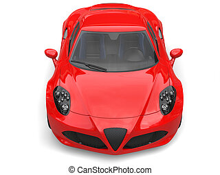 Carnelian red sport concept car - front view top down shot