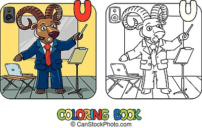 carnero, libro, o, urial, conferenciante, abc, colorido, ...