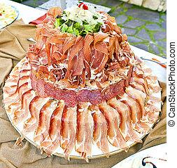 carnes, buffet, composición