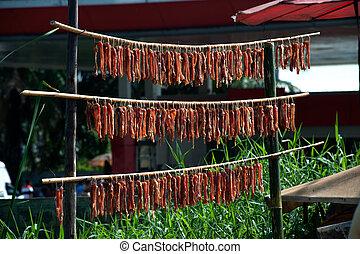 carnes, secado, en el sol, .