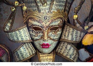 carneval, máscara, de, veneza