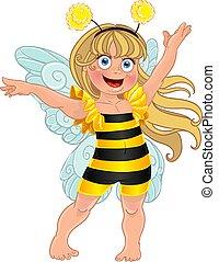 carnevale, ape, completo, piccolo, ragazza