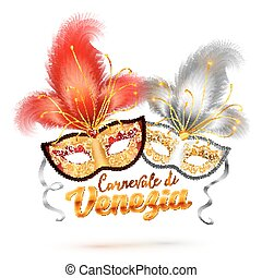 Carnevale di Venezia vector sign and two bright carnival masks with feathers