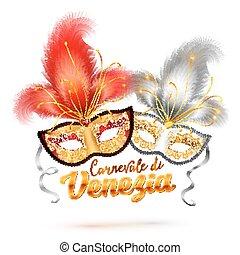 Carnevale di Venezia sign and two bright carnival masks with...