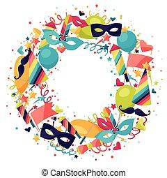 carnevale, festivo, icone, fondo, objects., celebrazione