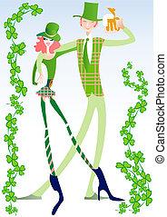 Carnevale colorito ragazze ballo stilizzato silhouette - St patricks giorno fogli di colore giorno ...