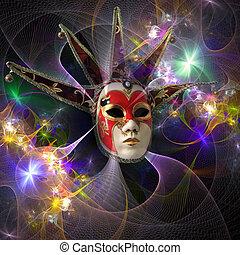 carnevale, modello, maschera, surreale, luminoso, griglia, fractal