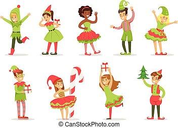 carnevale, vestito, claus, bambini, costume, santa, festa, vacanza, natale, elfi
