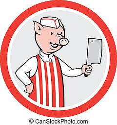 carnicero, cerdo, caricatura, cuchillo, tenencia