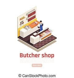 carnicero, composición, isométrico, tienda