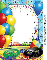 Carnival and confetti - Carnival masks with confetti and...