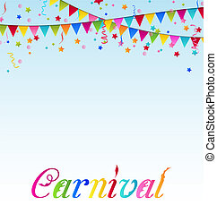 Illustration carnival background with flags, confetti, text - vector