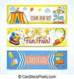 Amusement entertainment carnival theme park fun fair horizontal banners isolated vector illustration