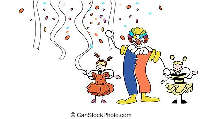 Carnival Clown and Toddler in front of Confetti and Garlands