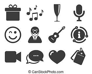 carnival., compleanno, vettore, icons., festa, celebrazione