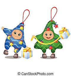 Carnival costumes for children. Set of soft funny Christmas decorations in the shape of star and Christmas tree isolated on white background. Sketch of festive poster, party invitation, holiday card.