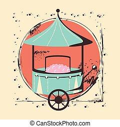 carnival cotton candy shop vector illustration design