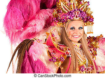 Carnival dancer - Portrait of young woman in pink carnival...