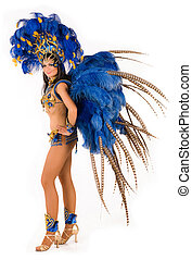 Carnival dancer - Portrait of young woman in blue carnival...