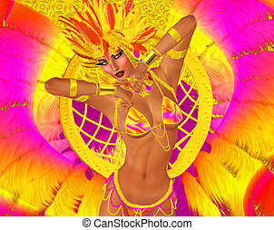 Carnival dancer woman in colorful